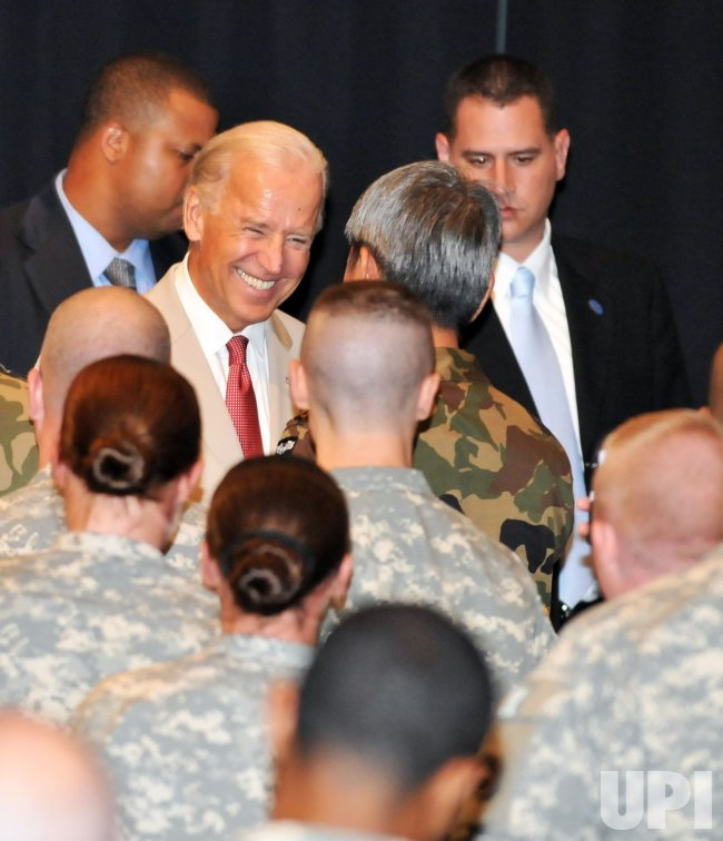 "U.S. Vice President Joe Biden thanks military personnel for role in ""Operation Tomodachi""."