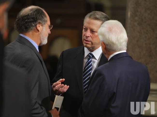 Former Vice President Al Gore, U.S. Senator Jon Corzine, and U.S. Senator Christopher Dodd attend funeral services for U.S. Senator Edward Kennedy in Boston