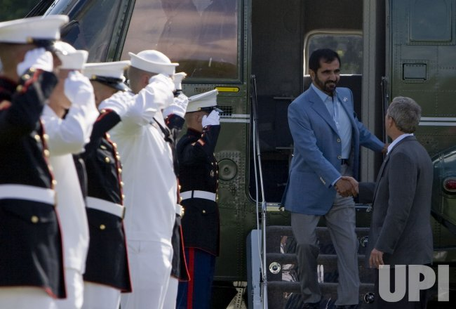 President Bush welcomes the Prime Minister of UAE to Camp David