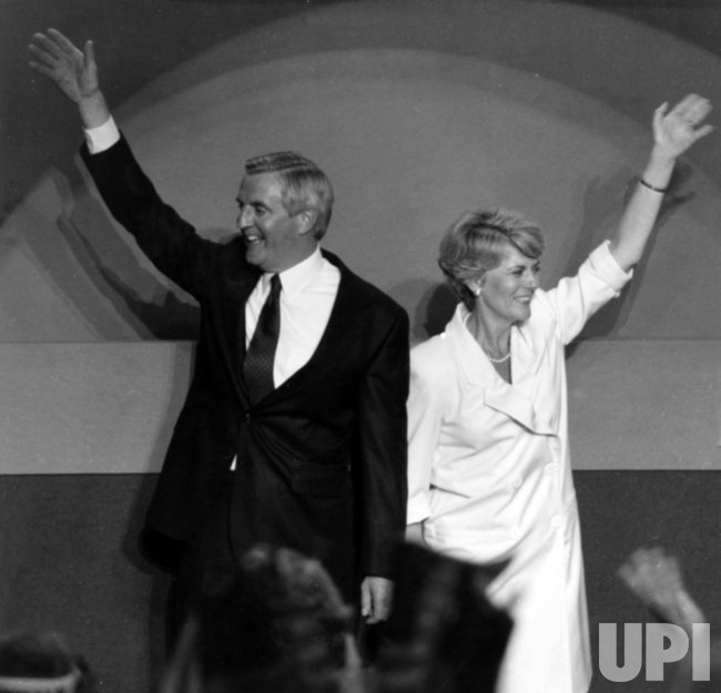 Geraldine Ferraro and Walter Mondale wave to the crowd at the Democratic National Convention
