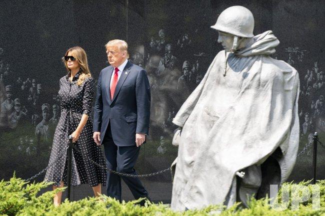 President Trump visits the Korean War Memorial in Washington, DC