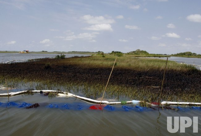 Oil spill work continues in Terrebonne Bay, Louisiana