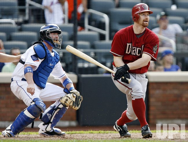 Arizona Diamondbacks Chad A. Tracy drives in 2 runs with a double against the New York Mets at Citi Field in New York