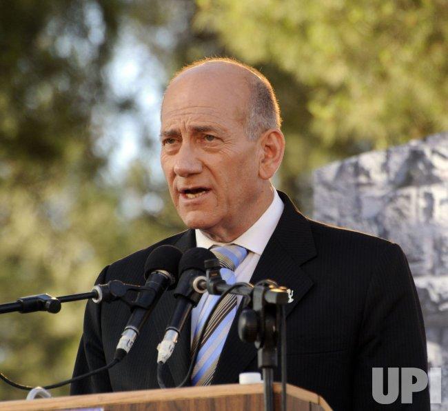 Israeli Prime Minister Ehud Olmert attends a ceremony marking Jerusalem Day