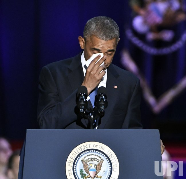 U.S. President Obama wipes away tears during farewell speech in Chicago