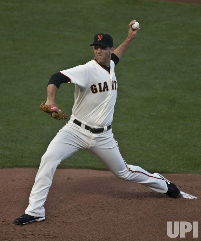 Giants Madison Bumgarner pitches to the Philadelphia Phillies in game four of the NLCS in San Francisco