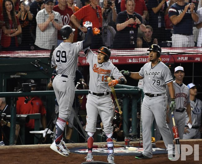 d084181c1cf Yankees  Aaron Judge celebrates a solo home run during MLB s All-Star Game  in Washington
