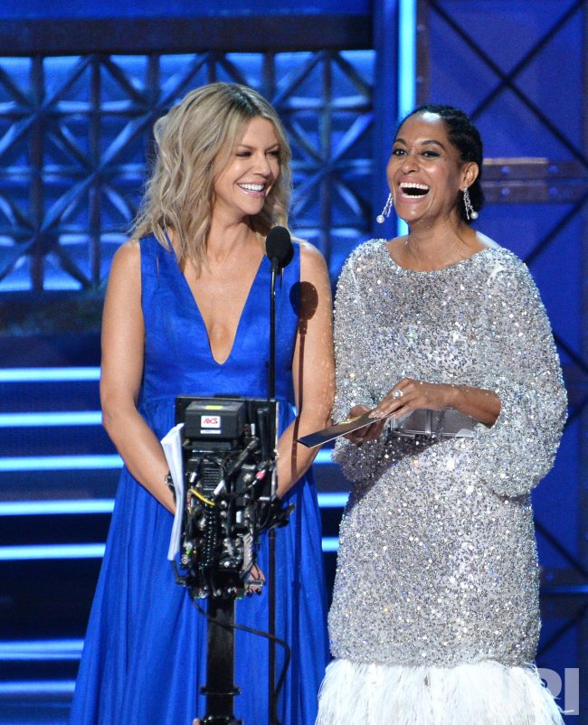 Kaitlin Olson and Tracee Ellis Ross onstage at the 69th annual Primetime Emmy Awards in Los Angeles