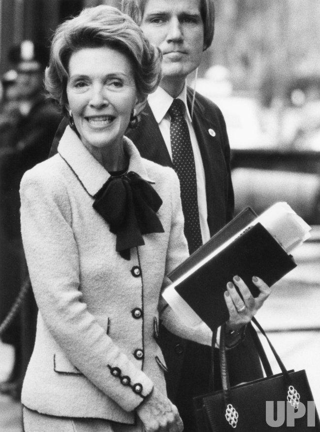 Nancy Reagan Visits President Reagan in Hospital