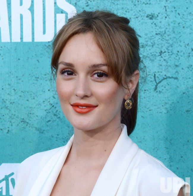 Leighton Meester arrives at the 2012 MTV Movie Awards in Universal City, California