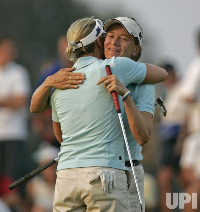 SORENSTAM HUGS MATTHEW AT SOLHEIM CUP