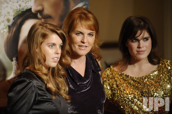 """Sarah Ferguson, Duchess of York with daughters Princess Beatrice of York and Princess Eugenie of York attend the premiere of the film """"The Young Victoria"""" in Los Angeles"""