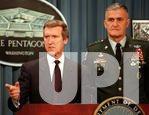 Defense Secretary William Cohen and Gen. Hugh Shelton brief reporters on operation Desert Fox