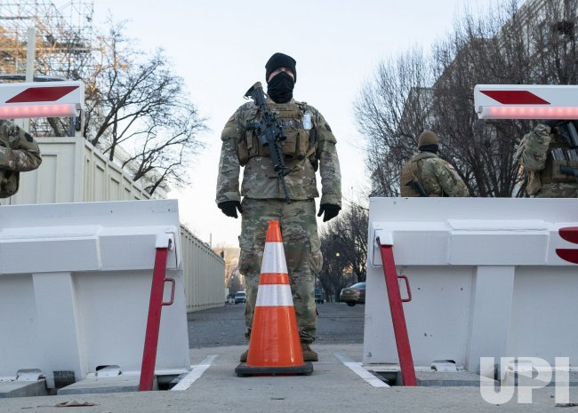 Members of the National Guard patrol the U.S. Capitol