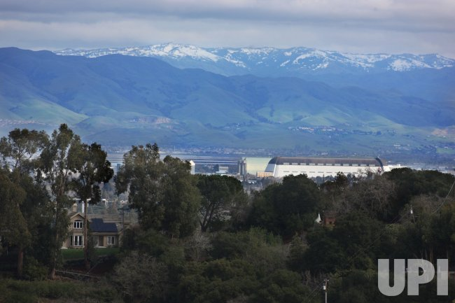 Snow caps mountains above Silicon Valley in California