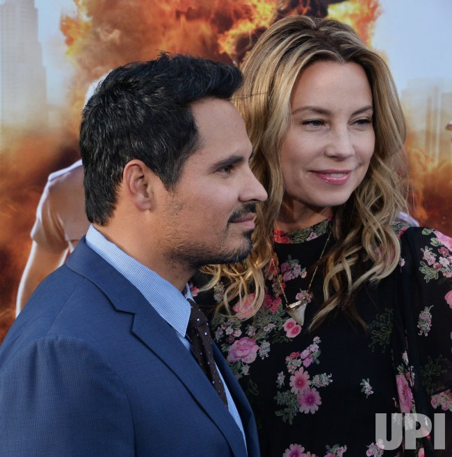"""Michael Pena and Brie Shaffer attend the """"CHIPS"""" premiere in Los Angeles"""