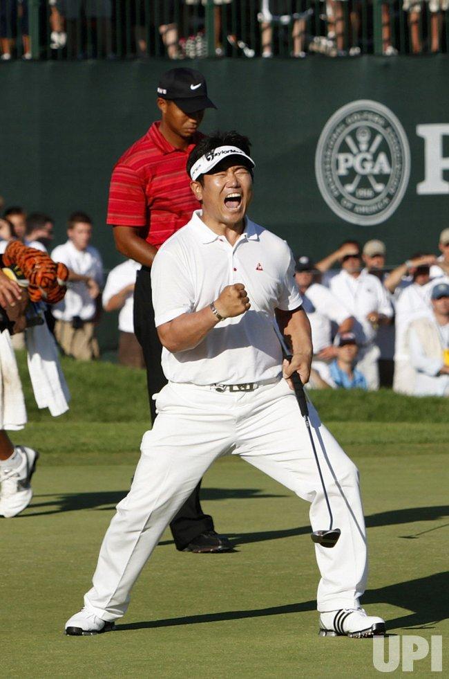Y.E. Yang of South Korea wins the 91st PGA Championship in Chaska, Minnesota