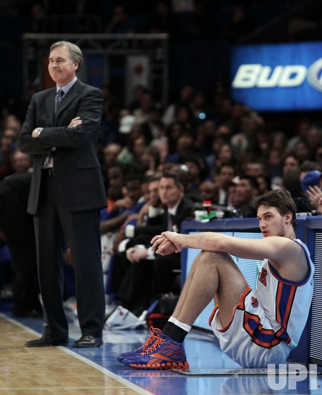 New York Knicks head coach Mike D'Antoni and Danilo Gallinari at Madison Square Garden in New York