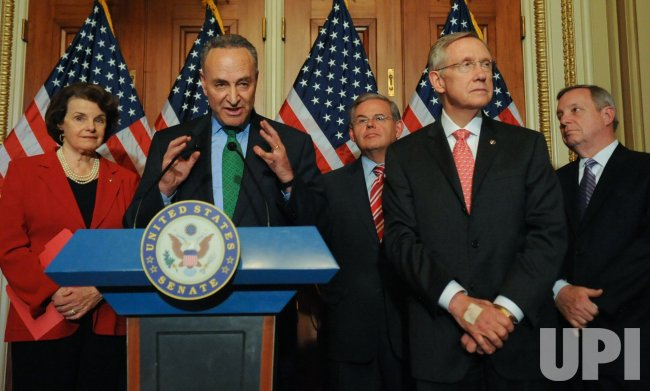 Democratic Senators speak to press on immigration reform in Washington