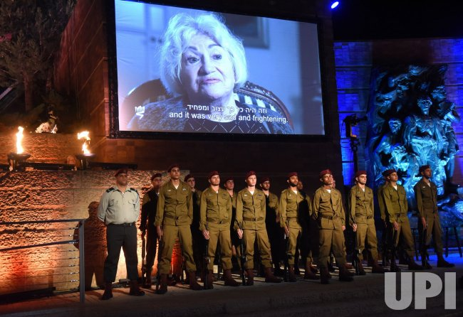 Israeli Soldiers Stand At The Opening Ceremony Of Holocaust Remembrance Day