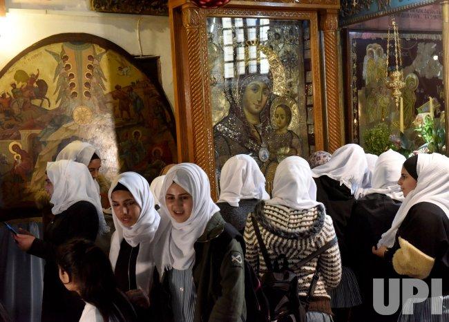 Palestinian Muslim Girls Visit The Church Of Nativity In Bethlehem, West Bank