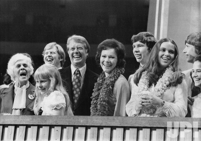 Carter family poses after Jimmy Carter delivered acceptance speech