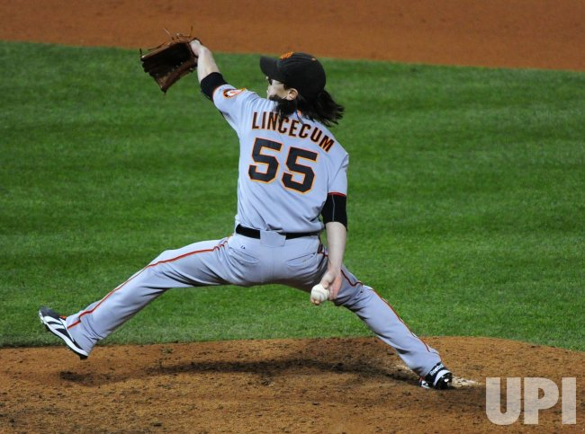 Giants' pitcher Tim Lincecum pitches during game 6 of the NLCS in Philadelphia