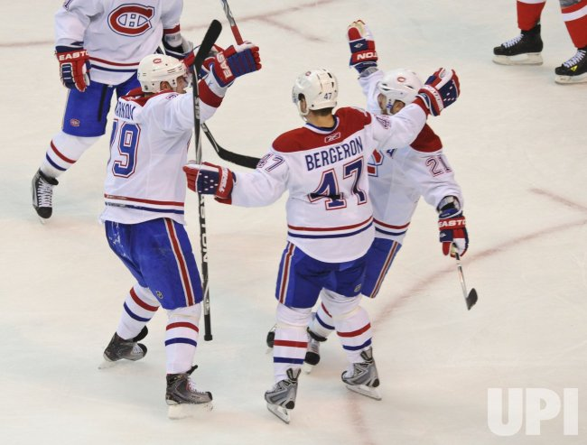 Canadiens celebrates goal against the Capitals during game 7 in Washington