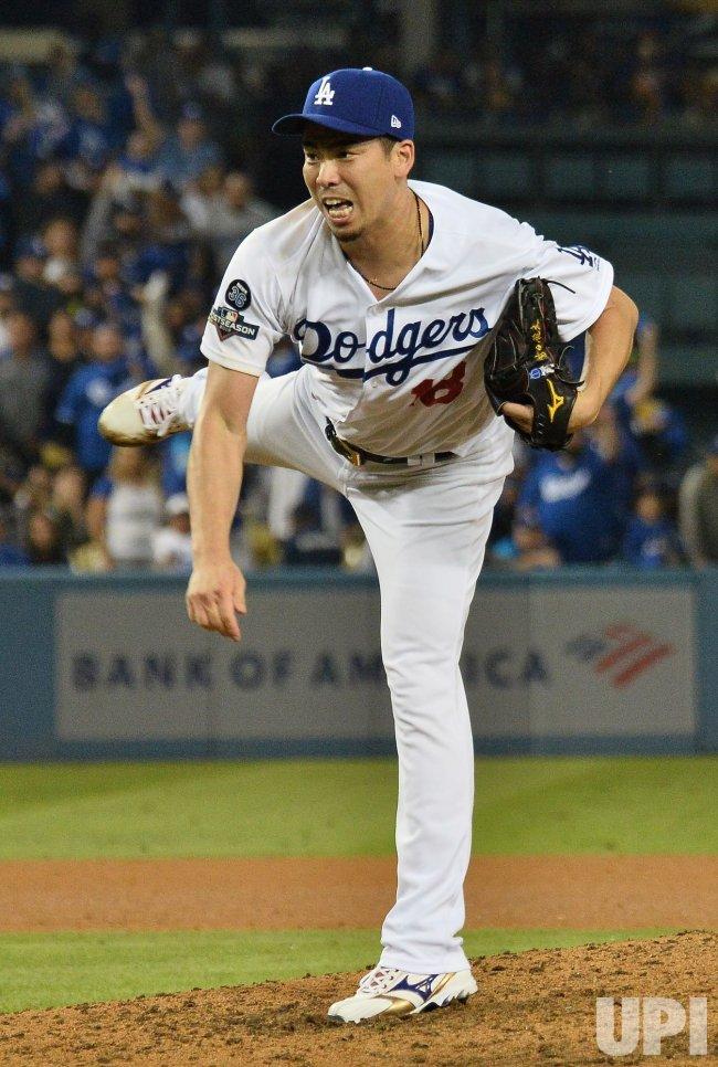 Dodgers' Kenta Maeda delivers during NLDS Game 5