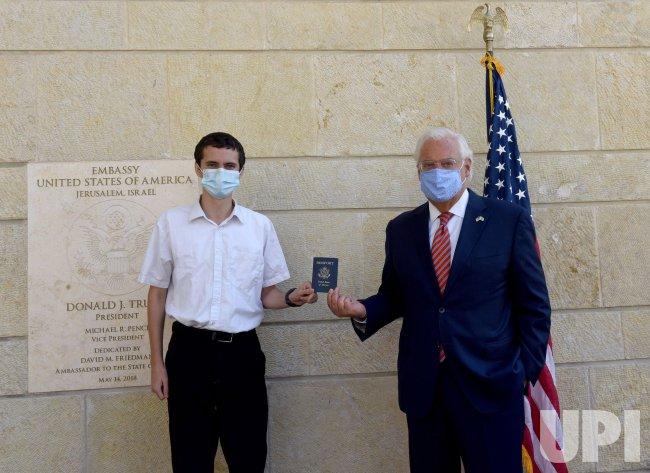 U.S. Ambassador To Israel Friedman With New Passport Holder In Jerusalem