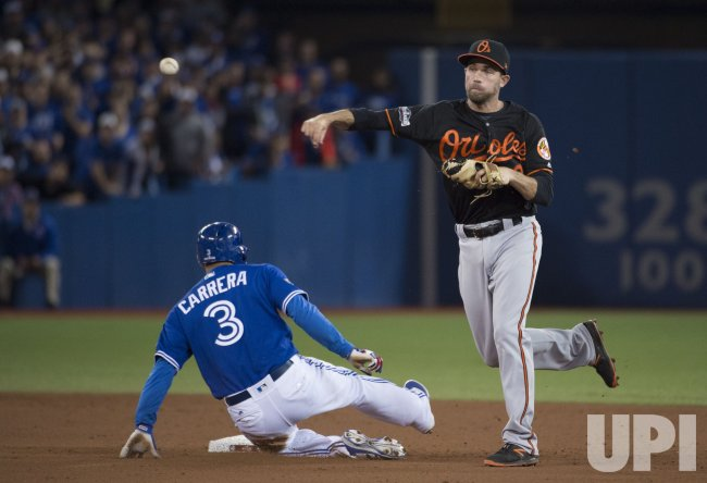 Baltimore Orioles' J.J. Hardy double play Toronto Blue Jays Ezequiel Carrera