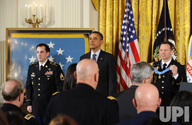 President Obama awards the Medal of Honor to Clinton Romesha in Washington