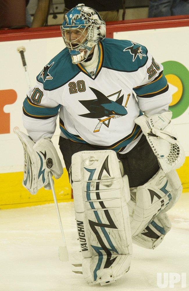 Sharks Goalie Nabokov Skates during Warm Ups before Game Six in Denver