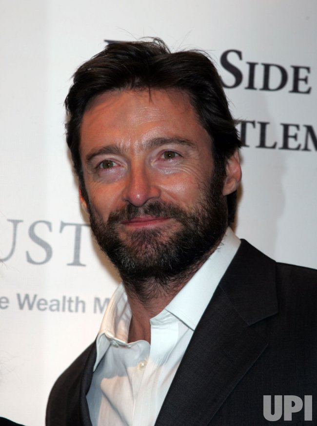 Hugh Jackman arrives at the Winter Antiques Show in New York
