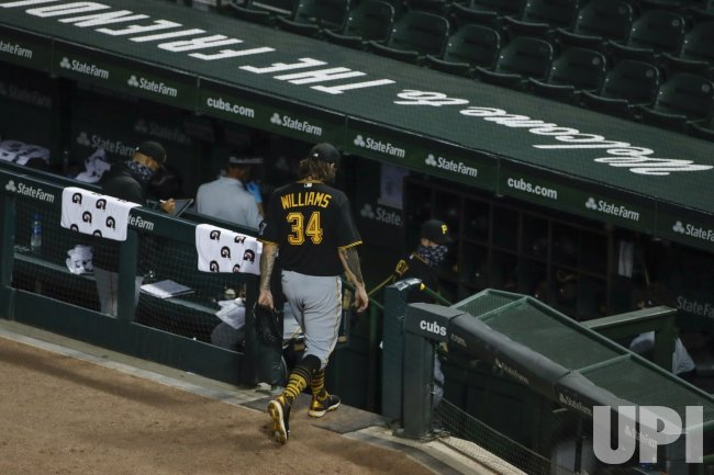 Pirates Trevor Williams leaves the game against Cubs at Wrigley Field in Chicago