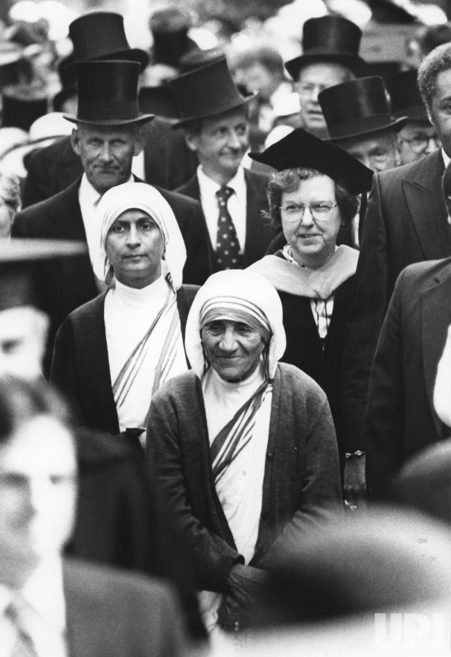 Mother Teresa marches in procession during Harvard University's 331st Commencement