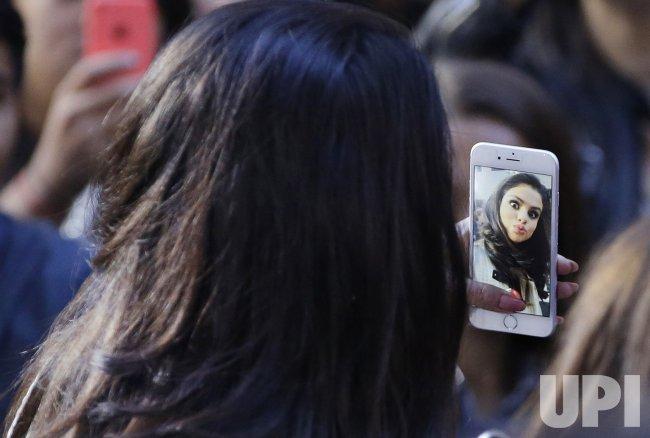 Selena Gomez takes a selfie on the NBC Today Show