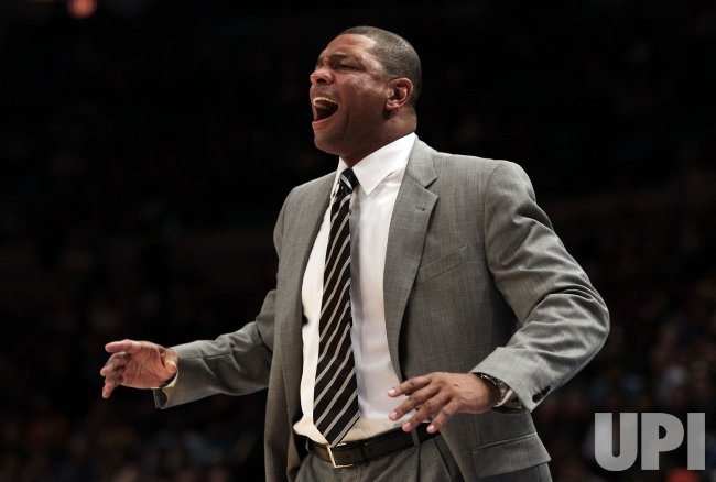 Boston Celtics head coach Doc Rivers reacts at Madison Square Garden in New York