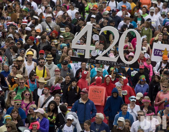 Runners jam the streets during the 99th Annual Bay to Breakers race in San Francisco