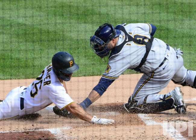 Pirates Adam Frazier Safe at Home Against Brewers