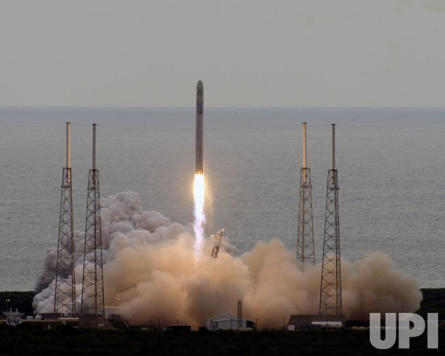 SpaceX launches its Falcon 9 rocket carrying the Dragon spacecraft to the International Space Station for NASA