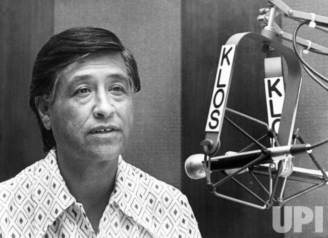 Cesar Chavez tapes interview at radio station