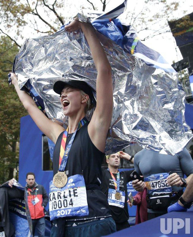 Super Model Karlie Kloss finishes the NYC Marathon
