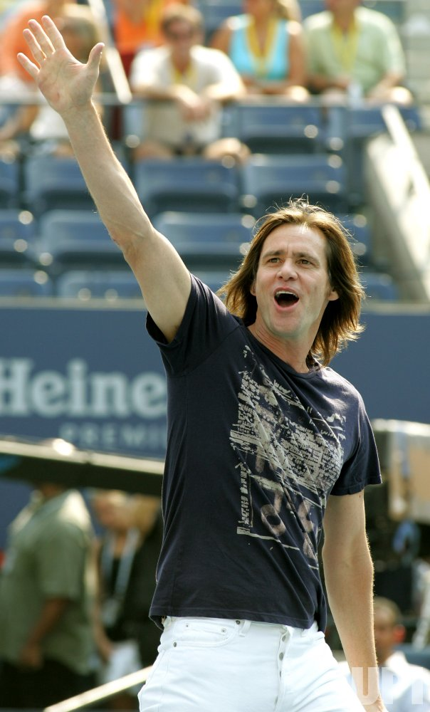 ACTOR JIM CARREY ENTERTAINS THE CROWDS AT THE US OPEN