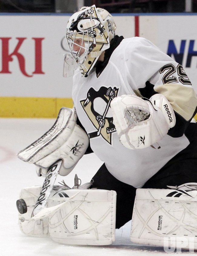 Pittsburgh Penguins Marc-Andre Fleury makes a save at Madison Square Garden in New York