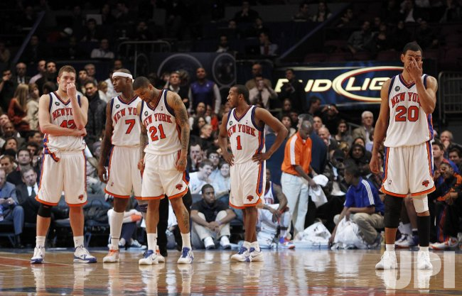 New York Knicks David Lee, Al Harrington, Wilson Chandler, Chris Duhon and Jarad Jeffries at Madison Square Garden