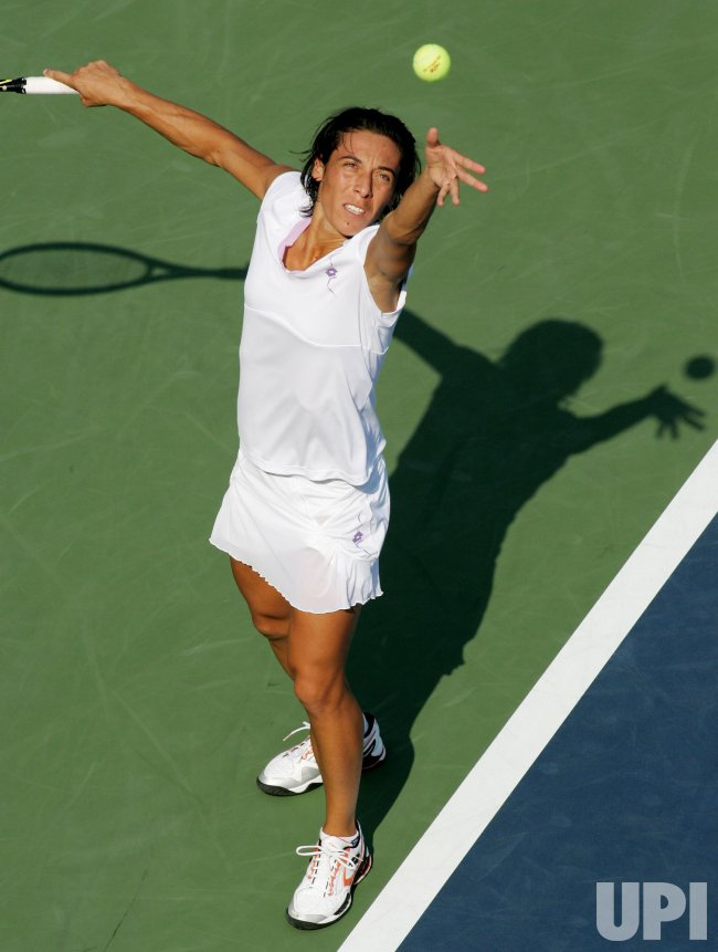 Francesca Schiavone and Maria Elena Camerin compete at the U.S. Open in New York