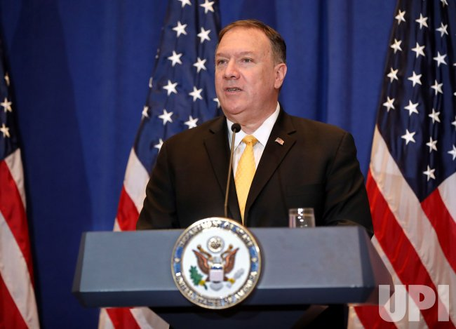 U.S. Secretary of State Mike Pompeo speaks at a press conference in New York