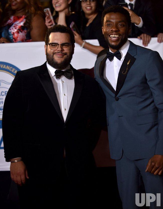 Josh Gad and Chadwick Boseman attend the 49th NAACP Image Awards in Pasadena, California