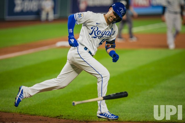 Royals Whit Merrifield Reacts to Hitting a Pop Fly